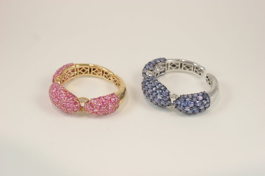 Pink and Blue Sapphire Dinner Bangles For Sale 3