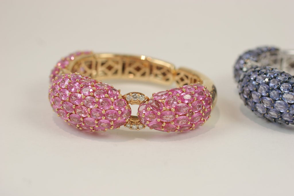 Pink and Blue Sapphire Dinner Bangles For Sale 4