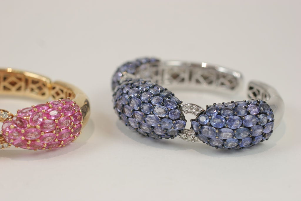 Pink and Blue Sapphire Dinner Bangles For Sale 5