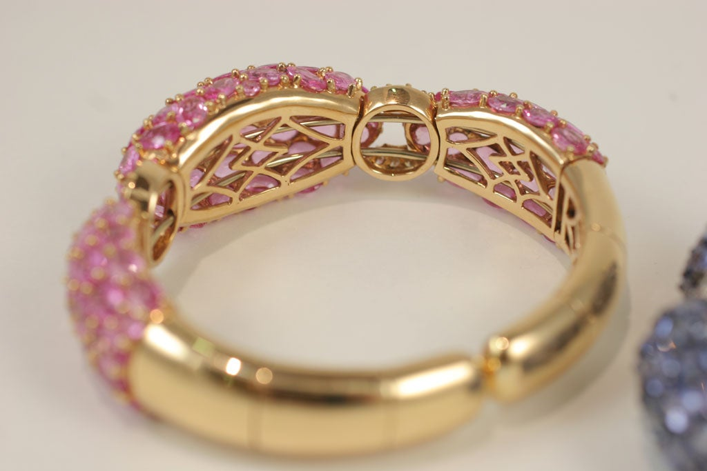 Pink and Blue Sapphire Dinner Bangles For Sale 6