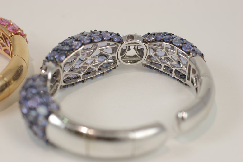 Pink and Blue Sapphire Dinner Bangles For Sale 7
