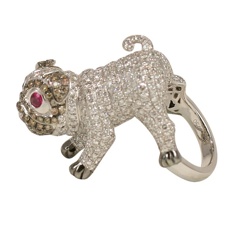 Pug  Dog Cocktail Ring 1