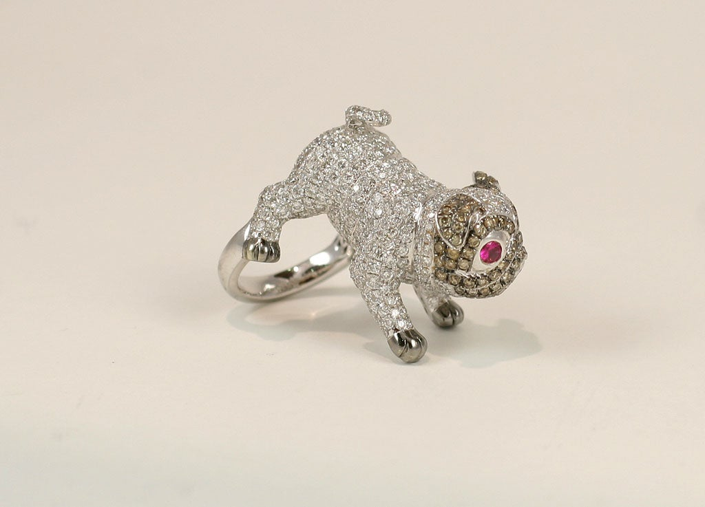 Pug  Dog Cocktail Ring 10