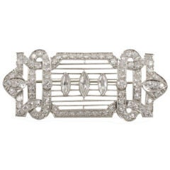Art Deco White Gold, and Diamond Brooch