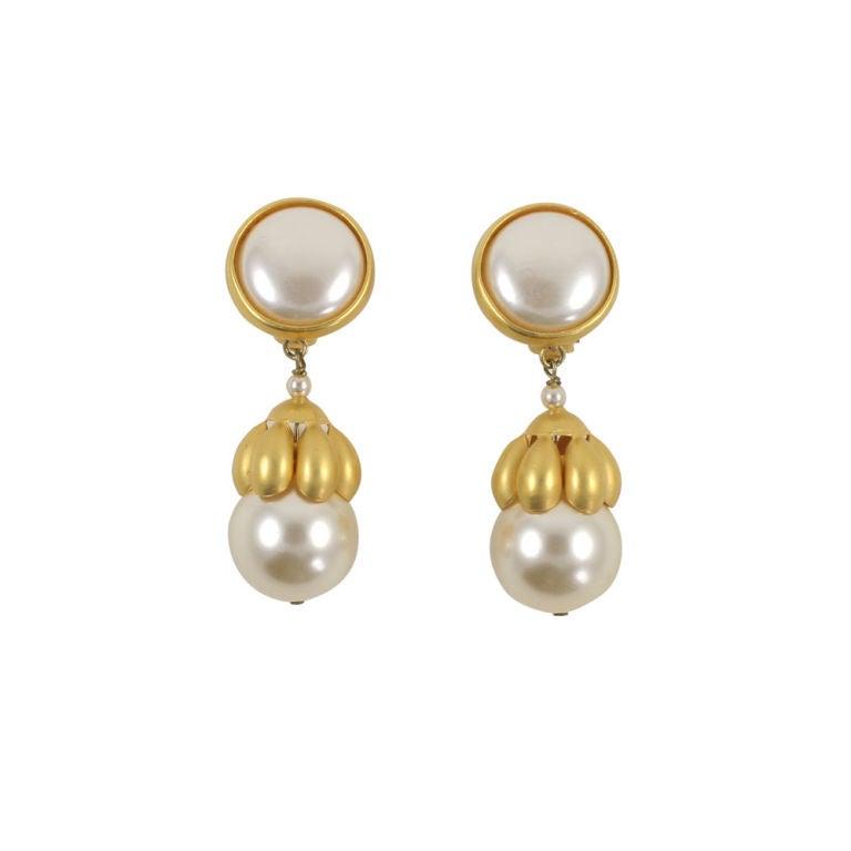 """Pair of Paco Rabanne """"Pearl"""" Earrings"""