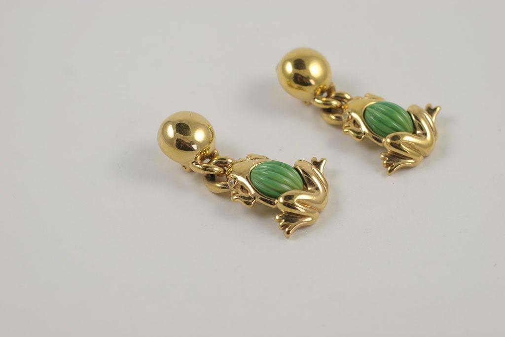 Valentino Goldtone Frog Earrings 3