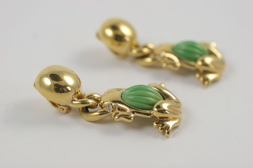 Valentino Goldtone Frog Earrings For Sale 1