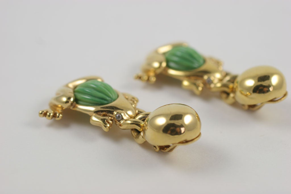 Valentino Goldtone Frog Earrings For Sale 2