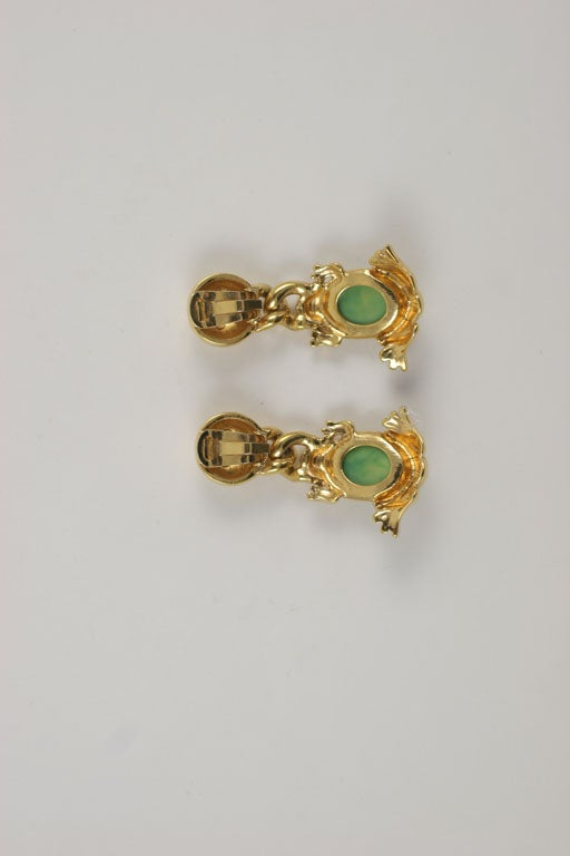 Valentino Goldtone Frog Earrings For Sale 3