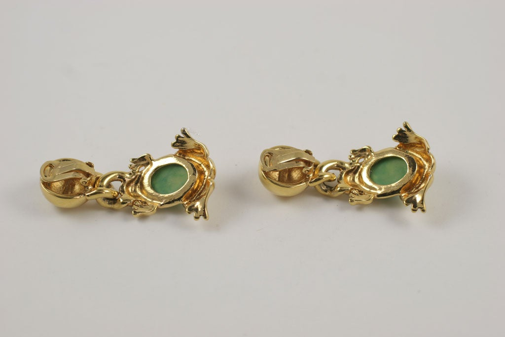 Valentino Goldtone Frog Earrings For Sale 4