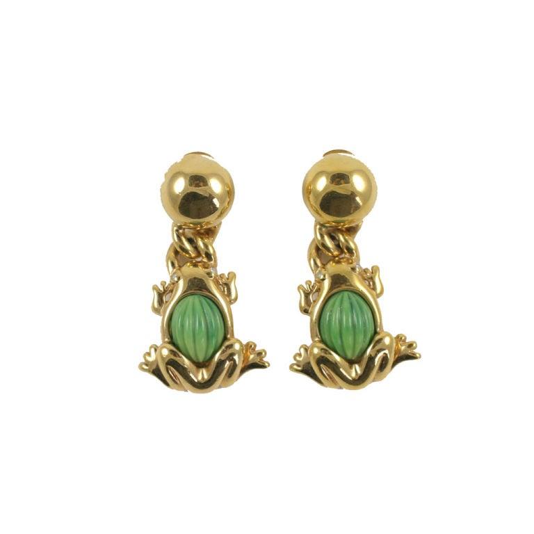 Valentino Goldtone Frog Earrings 1