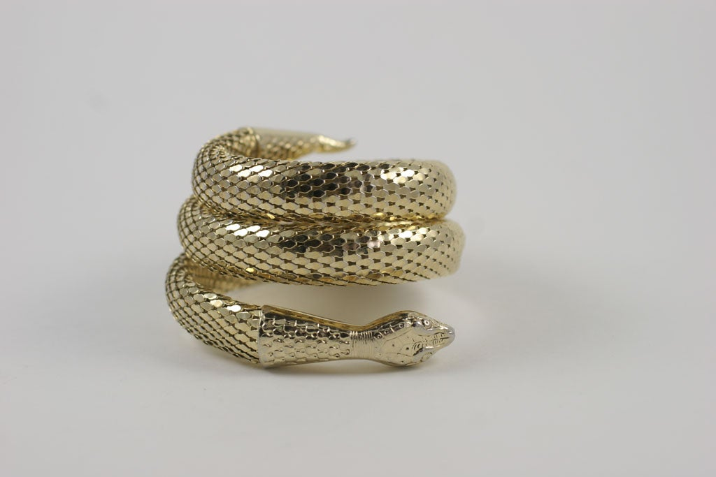 "Whiting and Davis ""Gold"" Snake Bracelet 3"