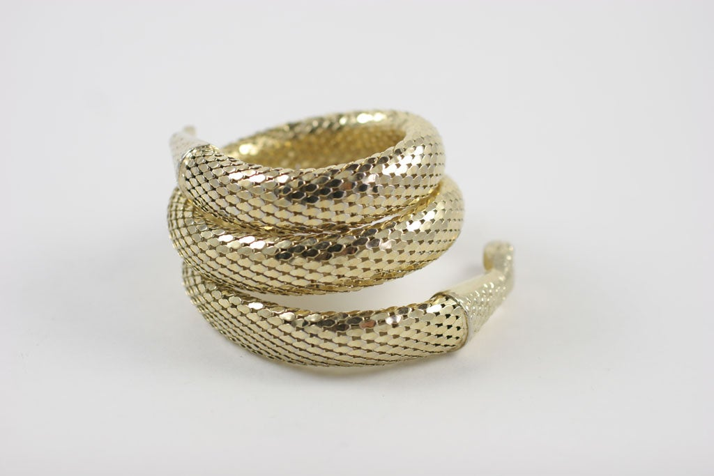 "Whiting and Davis ""Gold"" Snake Bracelet 6"