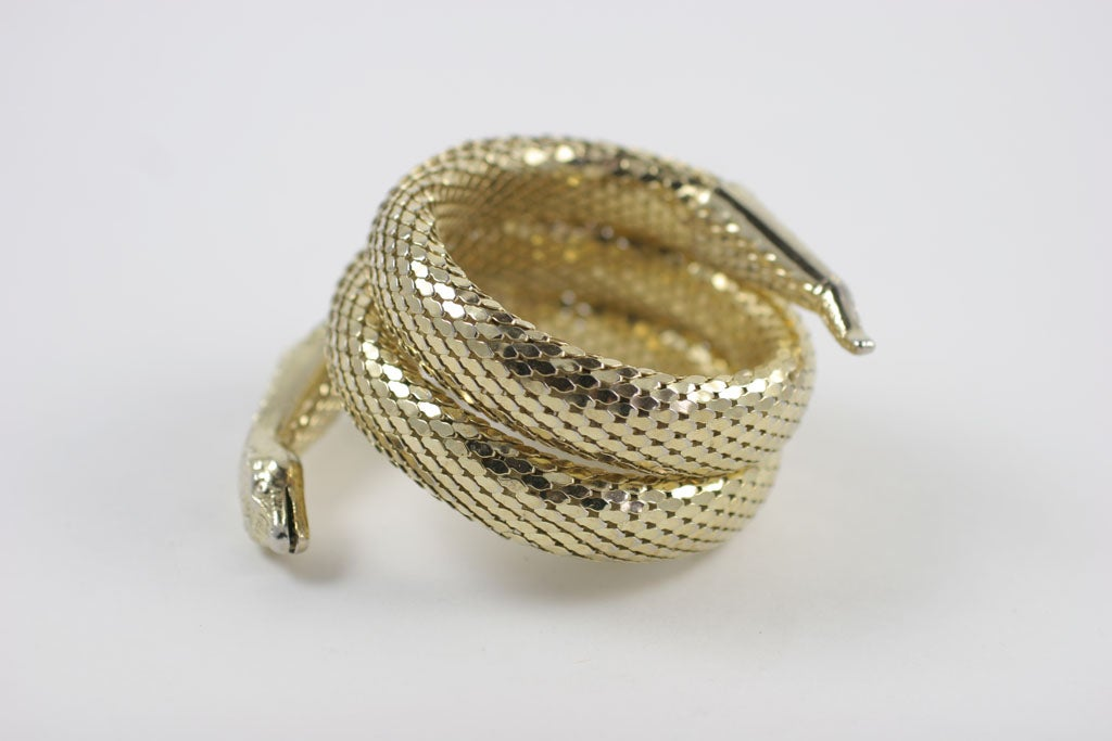 "Whiting and Davis ""Gold"" Snake Bracelet 7"