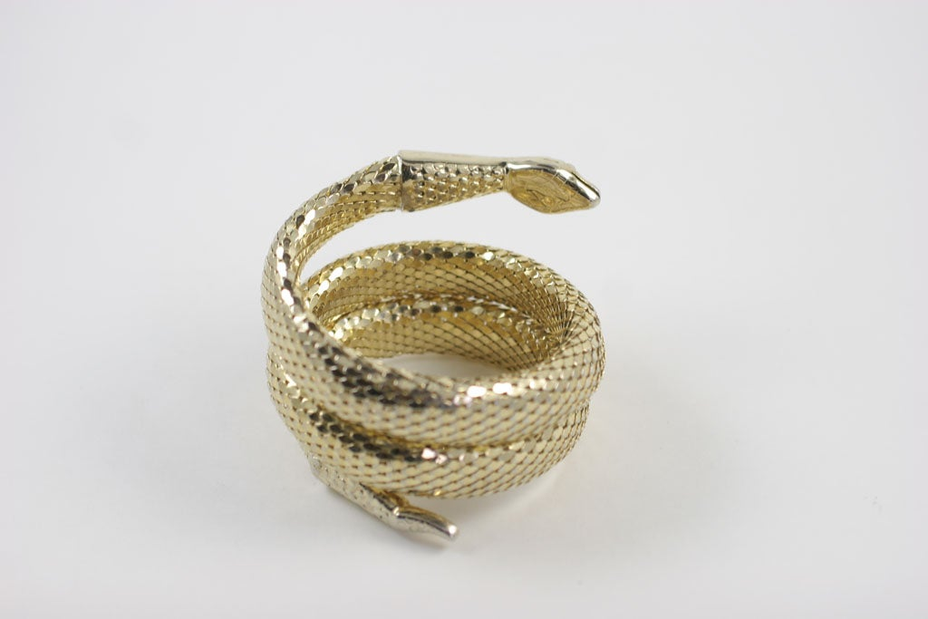 "Whiting and Davis ""Gold"" Snake Bracelet 8"