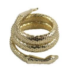 """Whiting and Davis """"Gold"""" Snake Bracelet"""
