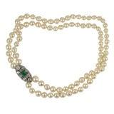 Art Deco Cultured Pearl , Diamond and Emerald Neckalce