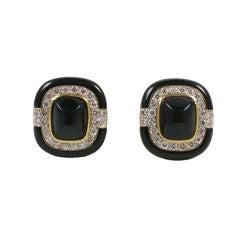 Ultra Chic Black Enamel Onynx & Diamond Earrings