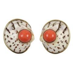 Seaman Shepps Shell & Coral Earrings
