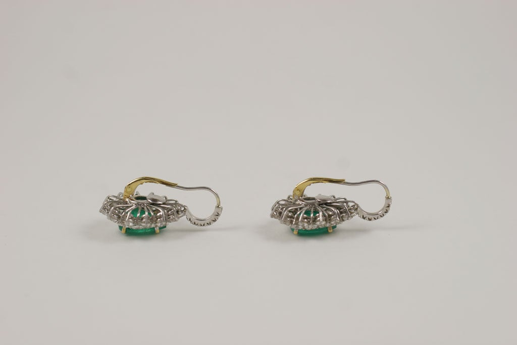 Emerald and Diamond Earrings For Sale 2