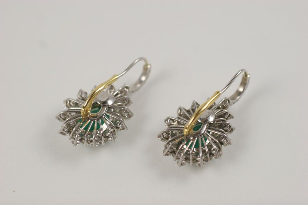 Emerald and Diamond Earrings For Sale 3
