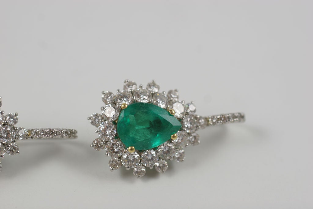Emerald and Diamond Earrings For Sale 6