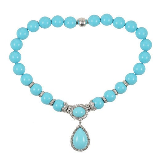 18k turquoise and diamond necklace
