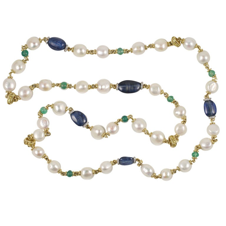 long multi colored stone and pearl necklace