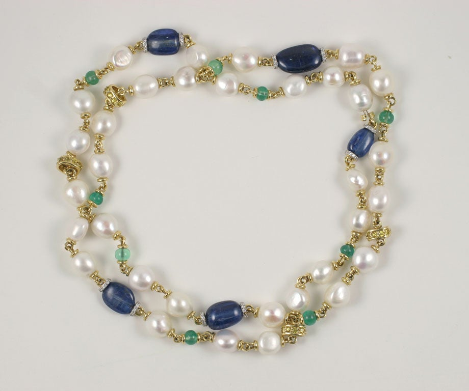long multi colored stone and pearl necklace For Sale at ...