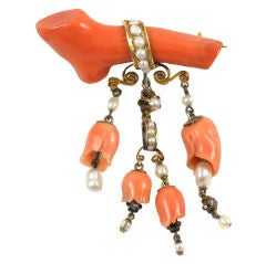 ORANGE & PINK CORAL, GOLD and NATURAL PEARL TREMBLANT BROOCH