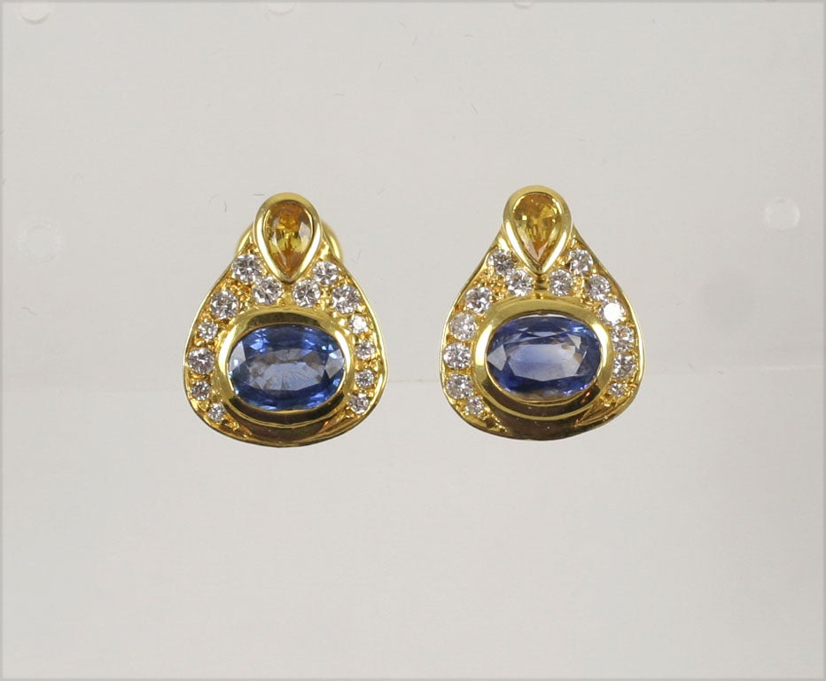 14kt yellow gold and colored sapphire earrings