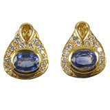 14Kt Yellow Gold,  Diamond & Colored Sapphire Earrings