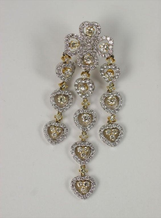 Women's 18 K Yellow and White Diamond  Wide Chandelier Earrings For Sale