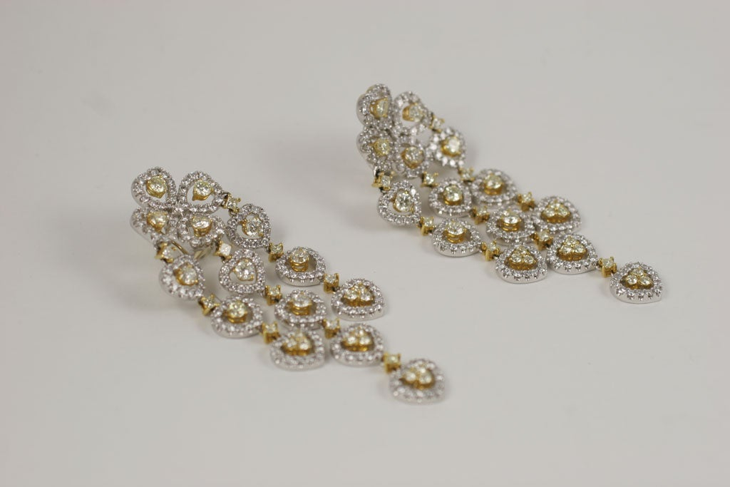 18 K Yellow and White Diamond  Wide Chandelier Earrings For Sale 1