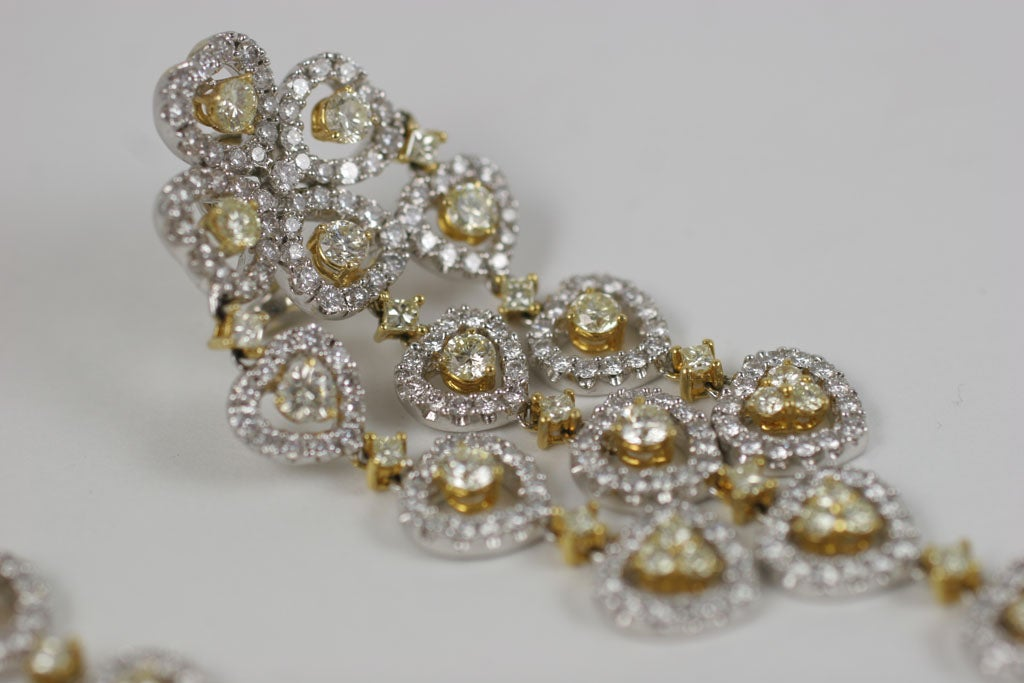 18 K Yellow and White Diamond  Wide Chandelier Earrings For Sale 2