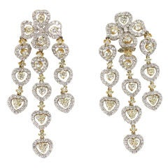 18 K Yellow and White Diamond  Wide Chandelier Earrings