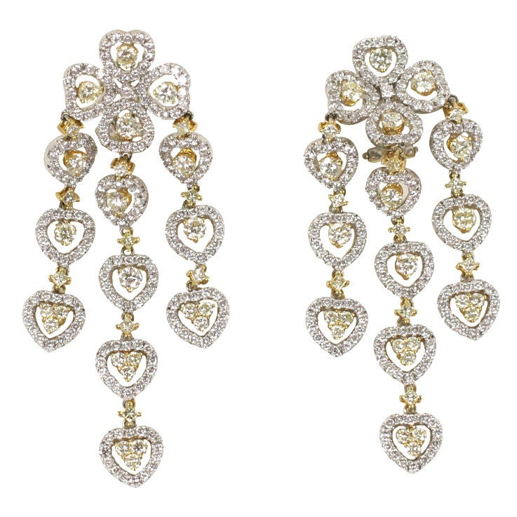18 K Yellow and White Diamond  Wide Chandelier Earrings For Sale
