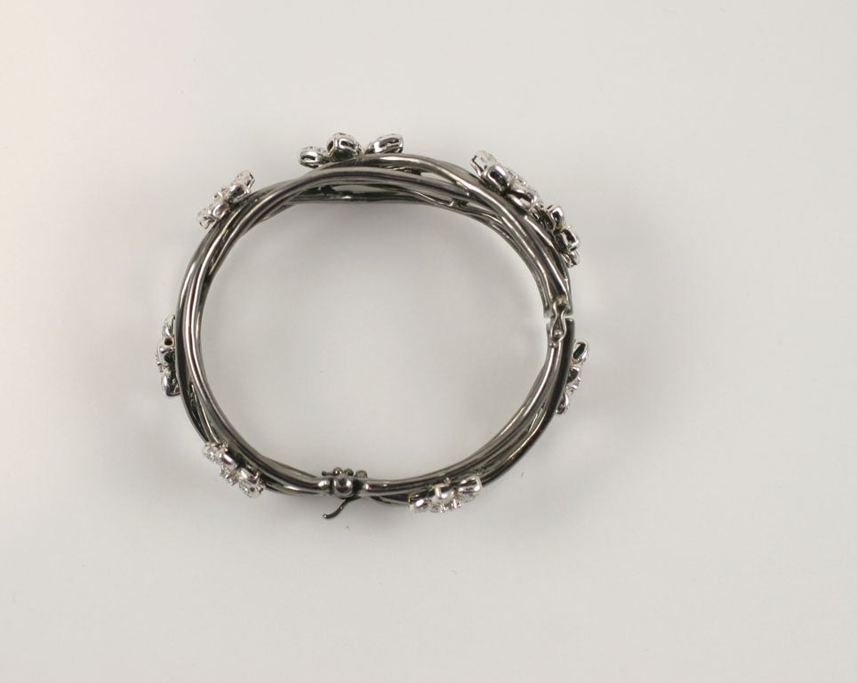 18 K Black Gold  Bangle with Diamond Flower Motif 5