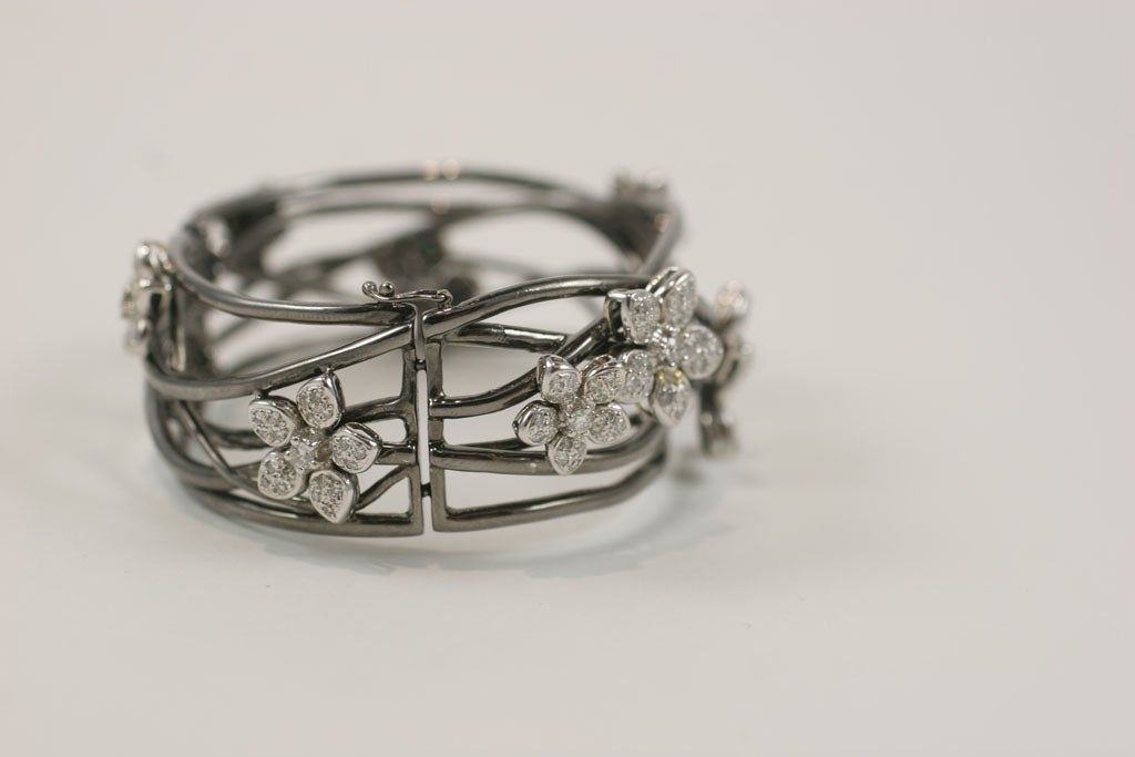 18 K Black Gold  Bangle with Diamond Flower Motif 6