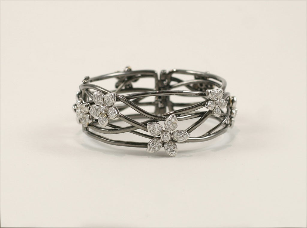 18 K Black Gold  Bangle with Diamond Flower Motif 2