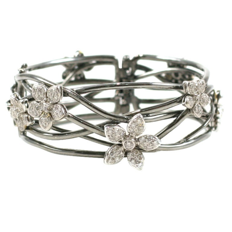 18 K Black Gold  Bangle with Diamond Flower Motif 1