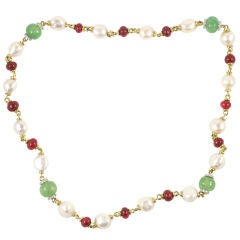 18 k colored stone, pearl and diamond necklace