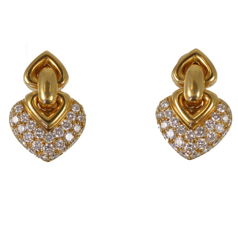 BULGARI Heart Earrings at 1stdibs