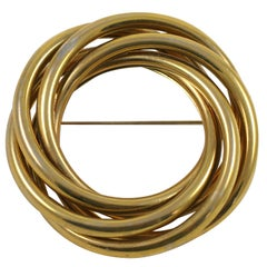 "Huge ""Gold"" Circle Pin, Costume Jewelry"