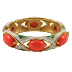Crown Trifari Coral and Enamel Bracelet, Costume Jewelry
