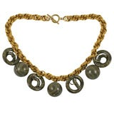 Chunky Goldtone Necklace with Large Dangles