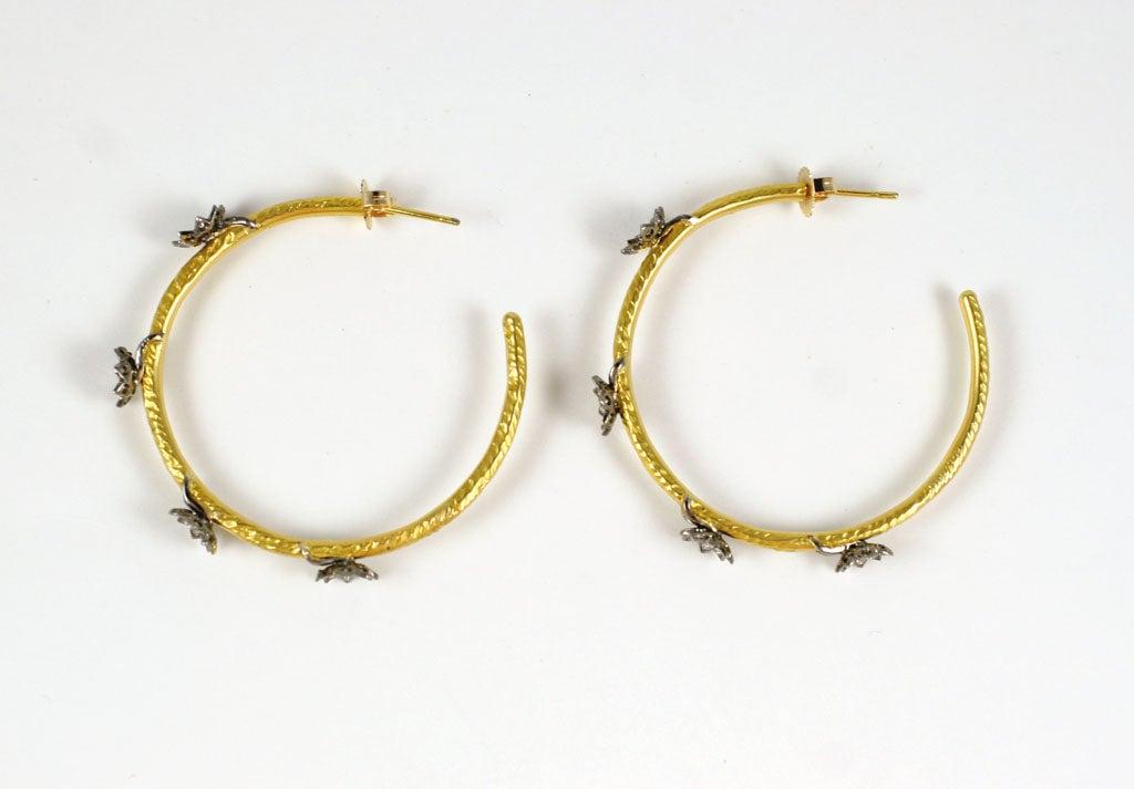 lotus flower hoop earrings at 1stdibs