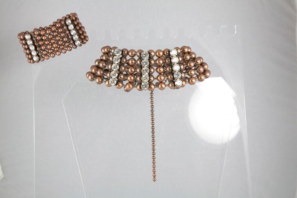 Bronze Bead and Rhinestone Choker and matching Bracelet 2
