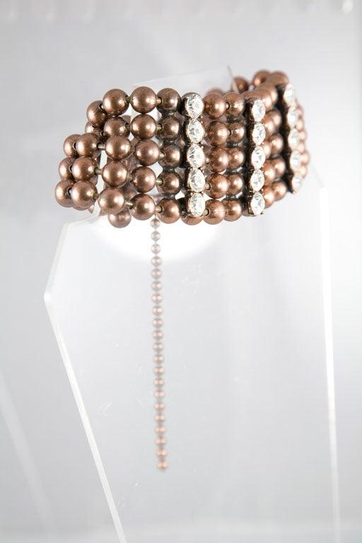 Bronze Bead and Rhinestone Choker and matching Bracelet 3