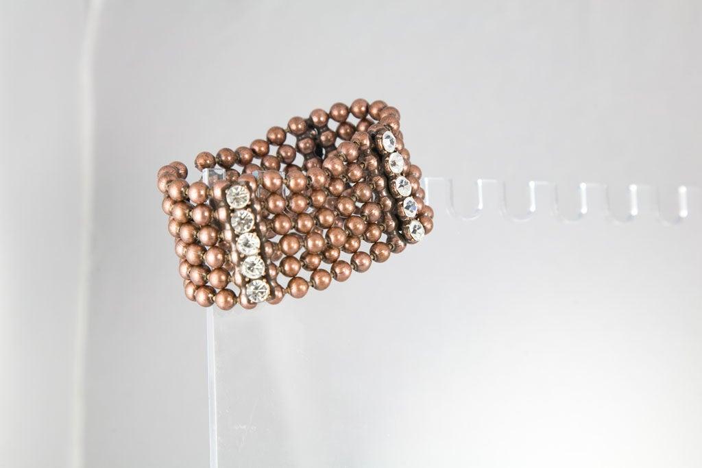 Bronze Bead and Rhinestone Choker and matching Bracelet 6